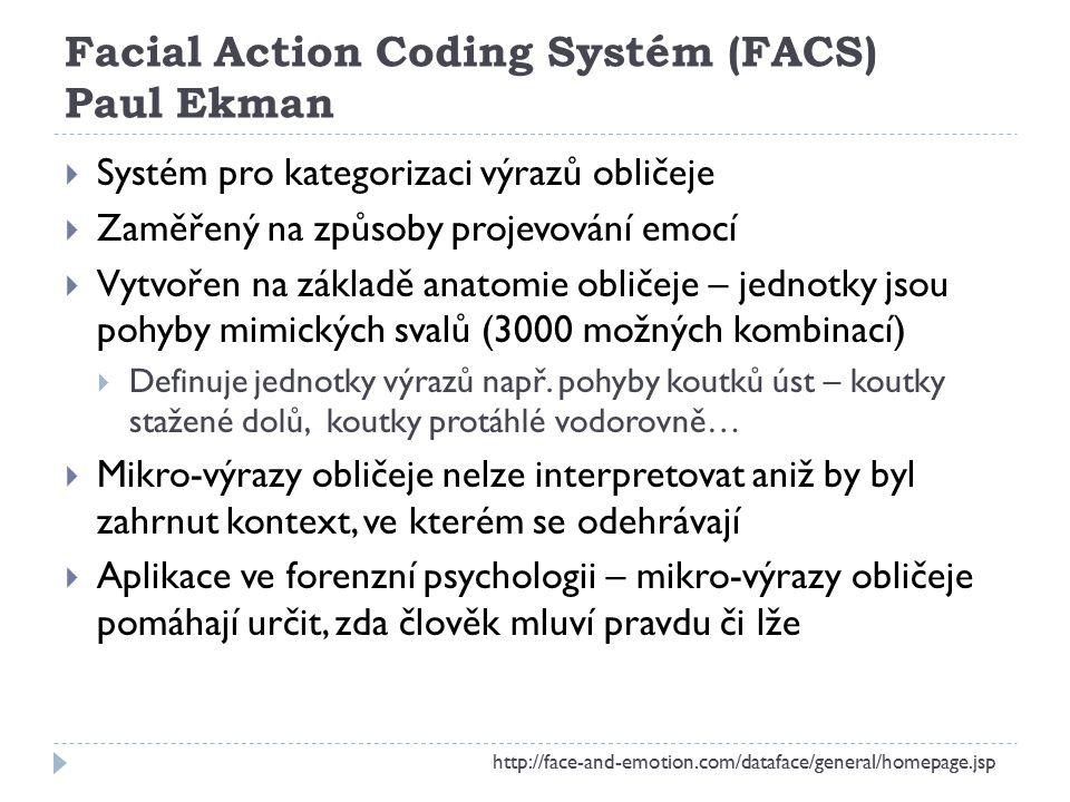 Facial Action Coding Systém (FACS) Paul Ekman  Systém pro kategorizaci výrazů obličeje  Zaměřený na způsoby projevování emocí  Vytvořen na základě