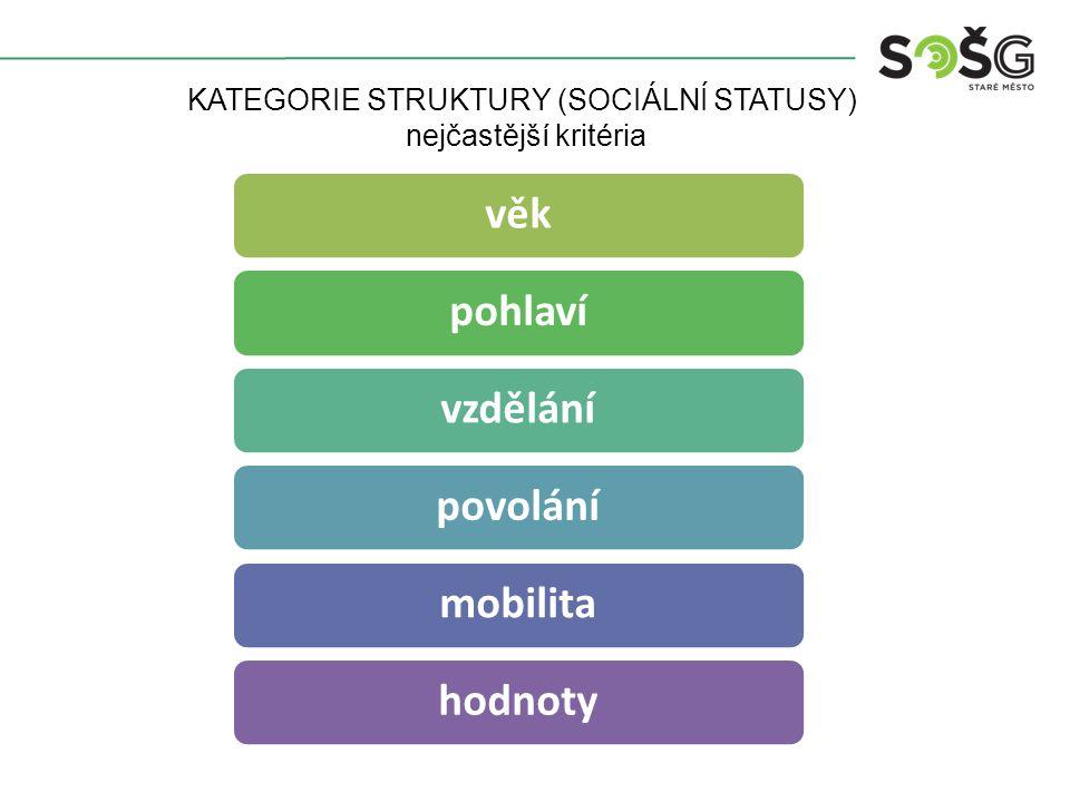 KATEGORIE STRUKTURY (SOCIÁLNÍ STATUSY) nejčastější kritéria věkpohlavívzdělánípovolánímobilitahodnoty