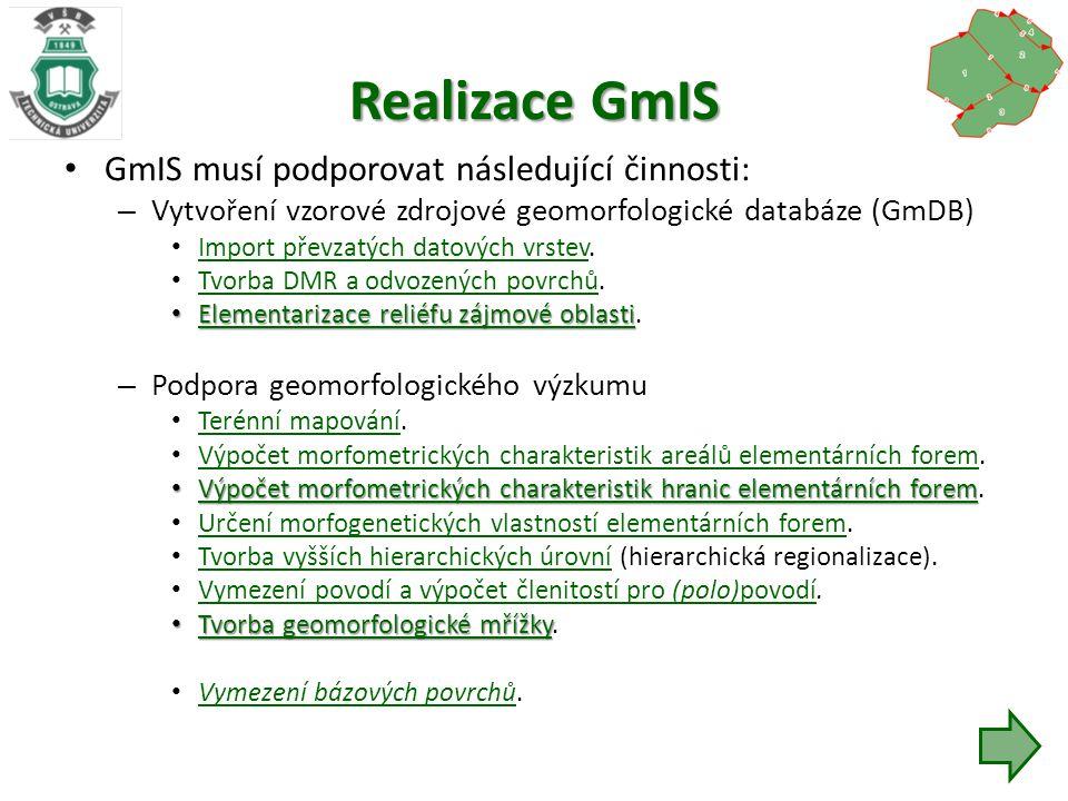 Realizace GmIS GmIS musí podporovat následující činnosti: – Vytvoření vzorové zdrojové geomorfologické databáze (GmDB) Import převzatých datových vrstev.