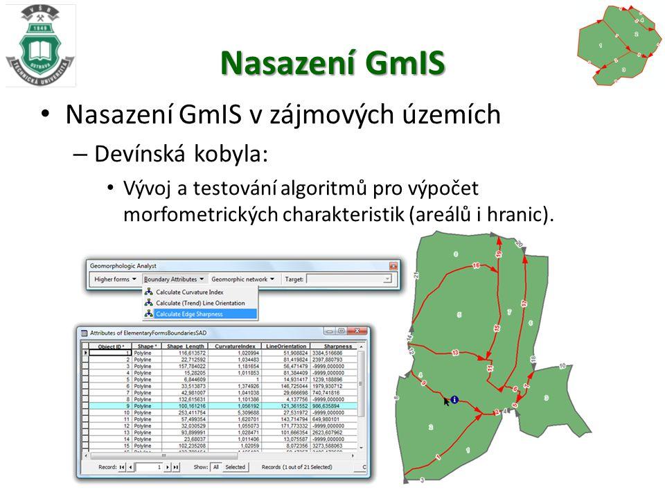 Nasazení GmIS Nasazení GmIS v zájmových územích – Devínská kobyla: Vývoj a testování algoritmů pro výpočet morfometrických charakteristik (areálů i hranic).