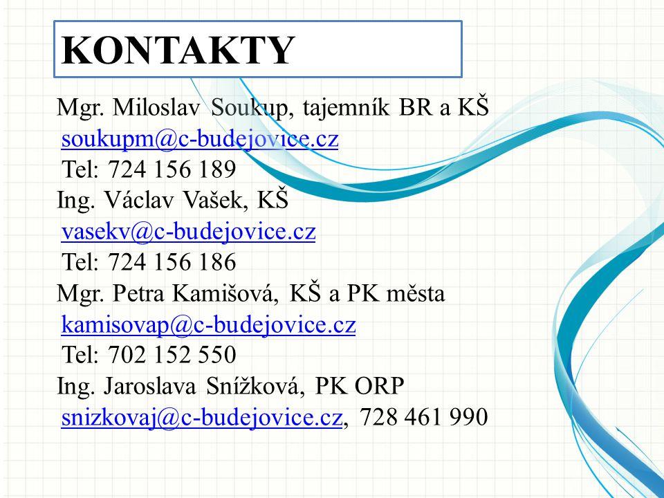 Mgr. Miloslav Soukup, tajemník BR a KŠ soukupm@c-budejovice.cz Tel: 724 156 189 Ing. Václav Vašek, KŠ vasekv@c-budejovice.cz Tel: 724 156 186 Mgr. Pet