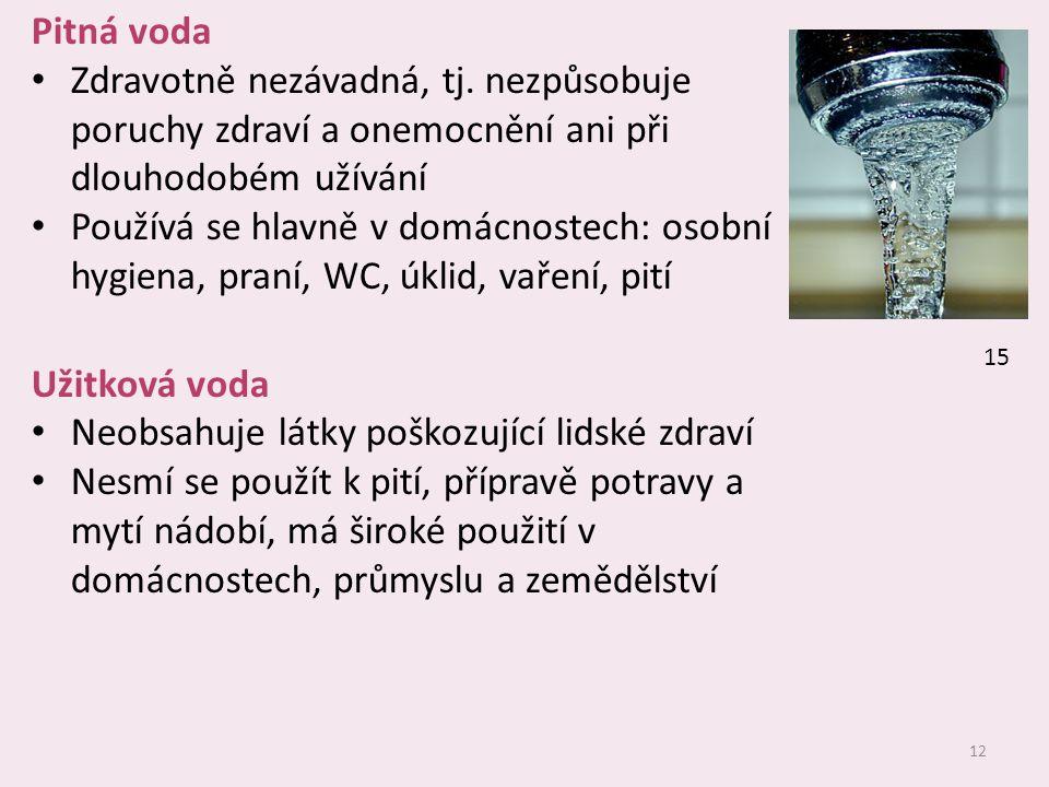 12 Pitná voda Zdravotně nezávadná, tj.