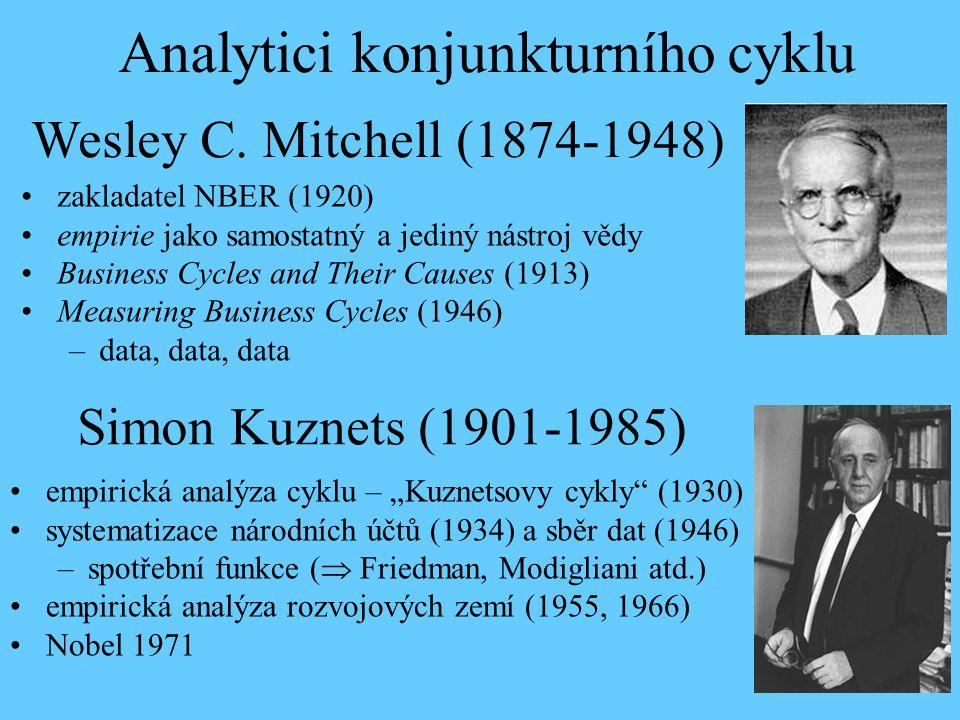 Wesley C. Mitchell (1874-1948) zakladatel NBER (1920) empirie jako samostatný a jediný nástroj vědy Business Cycles and Their Causes (1913) Measuring
