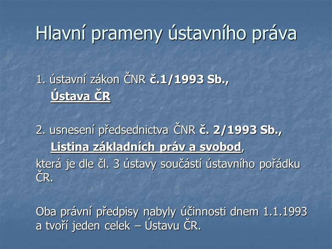 Hlavní prameny ústavního práva 1. ústavní zákon ČNR č.1/1993 Sb., Ústava ČR Ústava ČR 2.