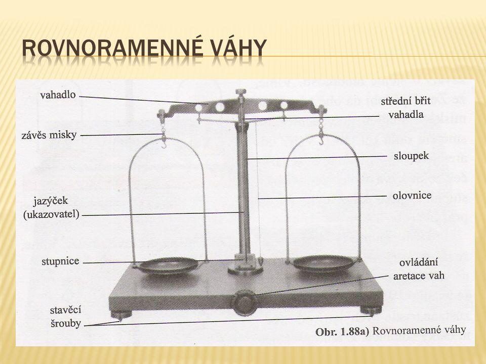 Na rovnoramenných vahách měříme hmotnost tím, že porovnáváme hmotnost tělesa s hmotností závaží, kterou známe  Vahadlo – posazeno břitem na sloupku;zavěšeny dvě stejné misky  Aretační kolík – v tobě nečinnosti vah se jím zabezpečuje ostrost břitu (a přesnost následného vážení), zastavuje se vahadlo  Odaretování – pomocí aretačního kolíku; jazýček je při prázdných miskách uprostřed