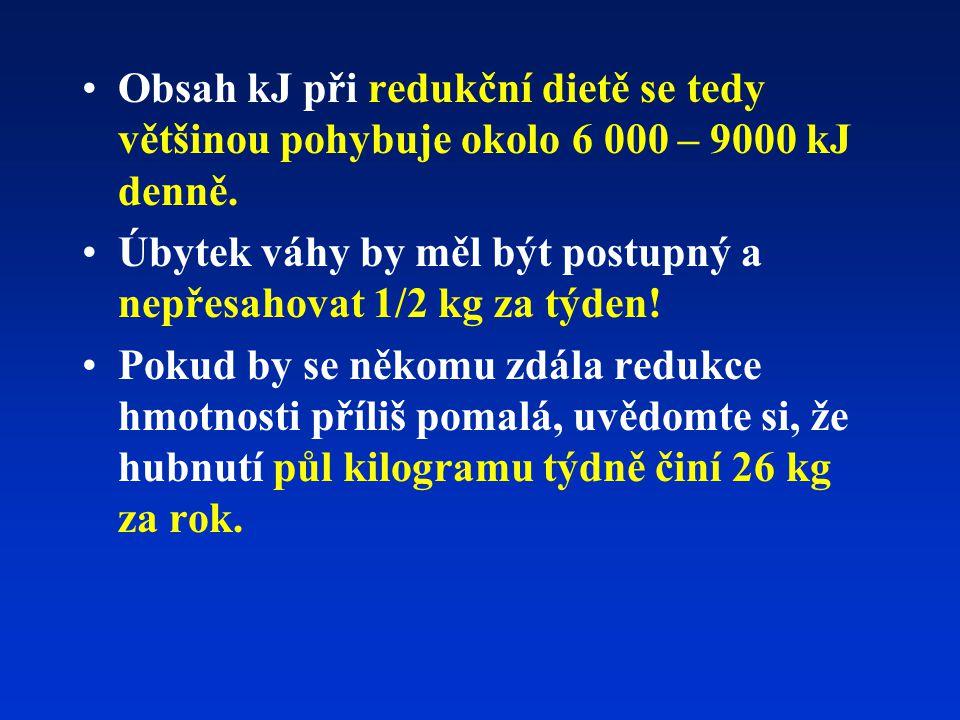 Obsah kJ při redukční dietě se tedy většinou pohybuje okolo 6 000 – 9000 kJ denně. Úbytek váhy by měl být postupný a nepřesahovat 1/2 kg za týden! Pok