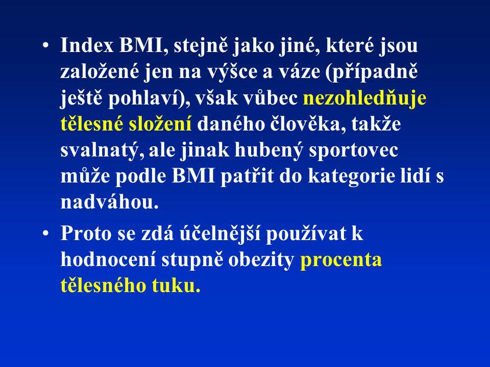 Index BMI, stejně jako jiné, které jsou založené jen na výšce a váze (případně ještě pohlaví), však vůbec nezohledňuje tělesné složení daného člověka, takže svalnatý, ale jinak hubený sportovec může podle BMI patřit do kategorie lidí s nadváhou.