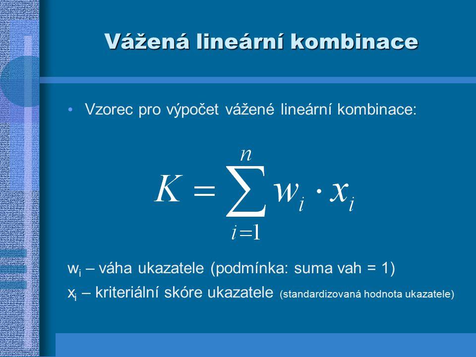 Vážená lineární kombinace Vzorec pro výpočet vážené lineární kombinace: w i – váha ukazatele (podmínka: suma vah = 1) x i – kriteriální skóre ukazatel