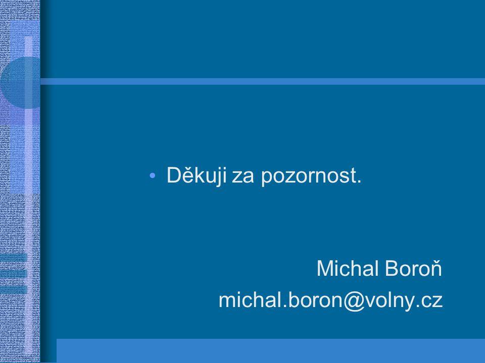 Děkuji za pozornost. Michal Boroň michal.boron@volny.cz