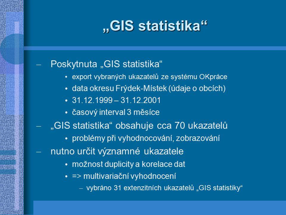 """""""GIS statistika"""" – Poskytnuta """"GIS statistika"""" export vybraných ukazatelů ze systému OKpráce data okresu Frýdek-Místek (údaje o obcích) 31.12.1999 – 3"""