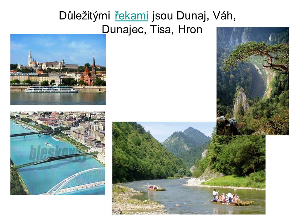 Důležitými řekami jsou Dunaj, Váh, Dunajec, Tisa, Hron