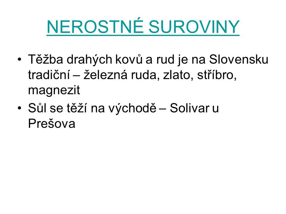 NEROSTNÉ SUROVINY Těžba drahých kovů a rud je na Slovensku tradiční – železná ruda, zlato, stříbro, magnezit Sůl se těží na východě – Solivar u Prešova