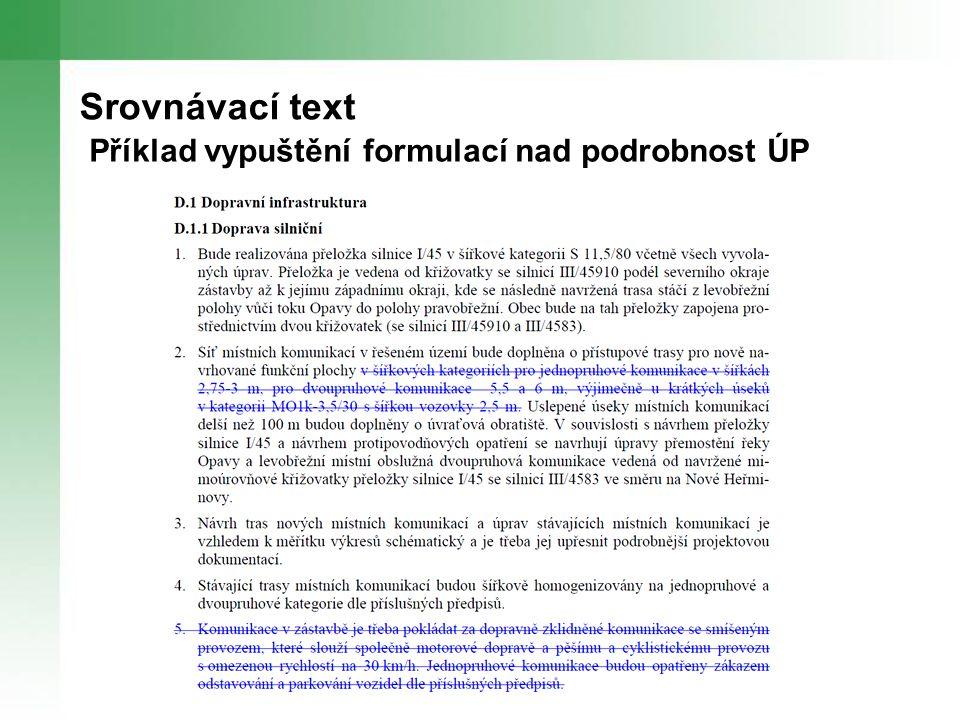 Srovnávací text Příklad vypuštění formulací nad podrobnost ÚP