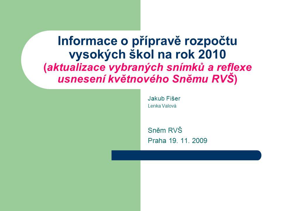 Informace o přípravě rozpočtu vysokých škol na rok 2010 (aktualizace vybraných snímků a reflexe usnesení květnového Sněmu RVŠ) Jakub Fišer Lenka Valov