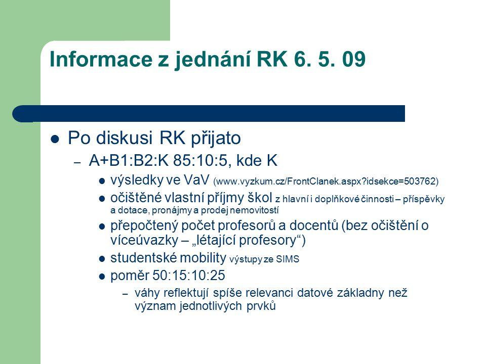 Informace z jednání RK 6. 5. 09 Po diskusi RK přijato – A+B1:B2:K 85:10:5, kde K výsledky ve VaV (www.vyzkum.cz/FrontClanek.aspx?idsekce=503762) očišt