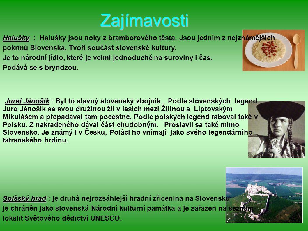 Zajímavosti Halušky Halušky : Halušky jsou noky z bramborového těsta. Jsou jedním z nejznámějších pokrmů Slovenska. Tvoří součást slovenské kultury. J