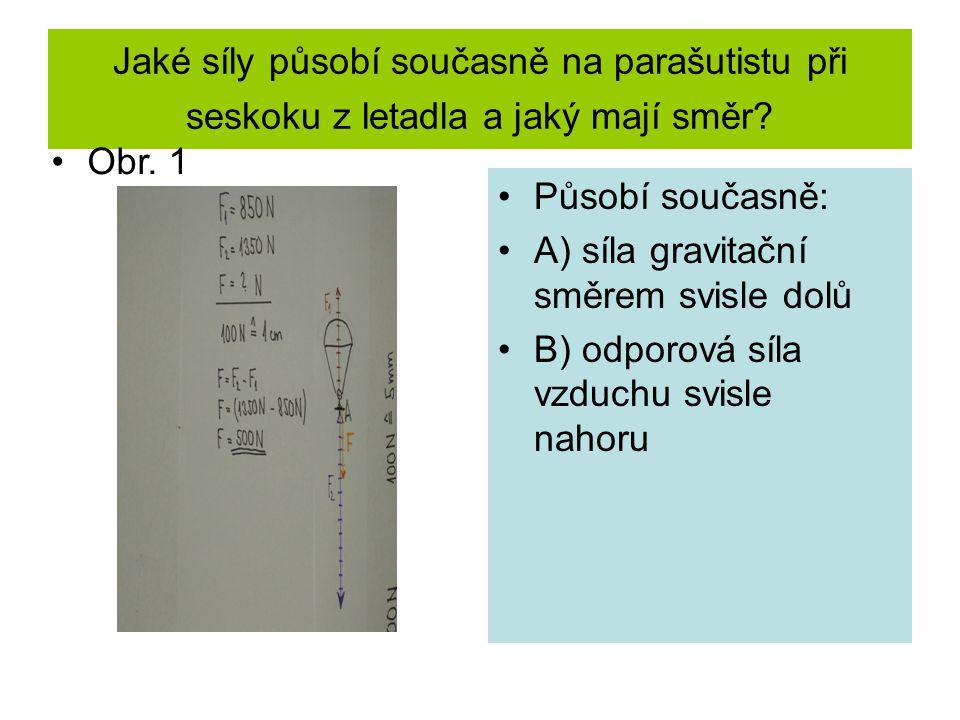 Jaké síly působí současně na parašutistu při seskoku z letadla a jaký mají směr? Působí současně: A) síla gravitační směrem svisle dolů B) odporová sí