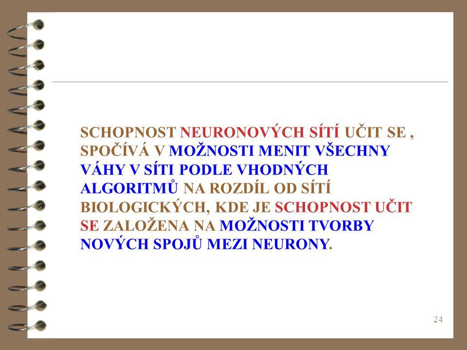 24 SCHOPNOST NEURONOVÝCH SÍTÍ UČIT SE, SPOČÍVÁ V MOŽNOSTI MENIT VŠECHNY VÁHY V SÍTI PODLE VHODNÝCH ALGORITMŮ NA ROZDÍL OD SÍTÍ BIOLOGICKÝCH, KDE JE SC