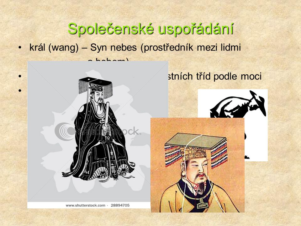Společenské uspořádání král (wang) – Syn nebes (prostředník mezi lidmi a bohem) úředníci (mandaríni) – 8 hodnostních tříd podle moci rolníci