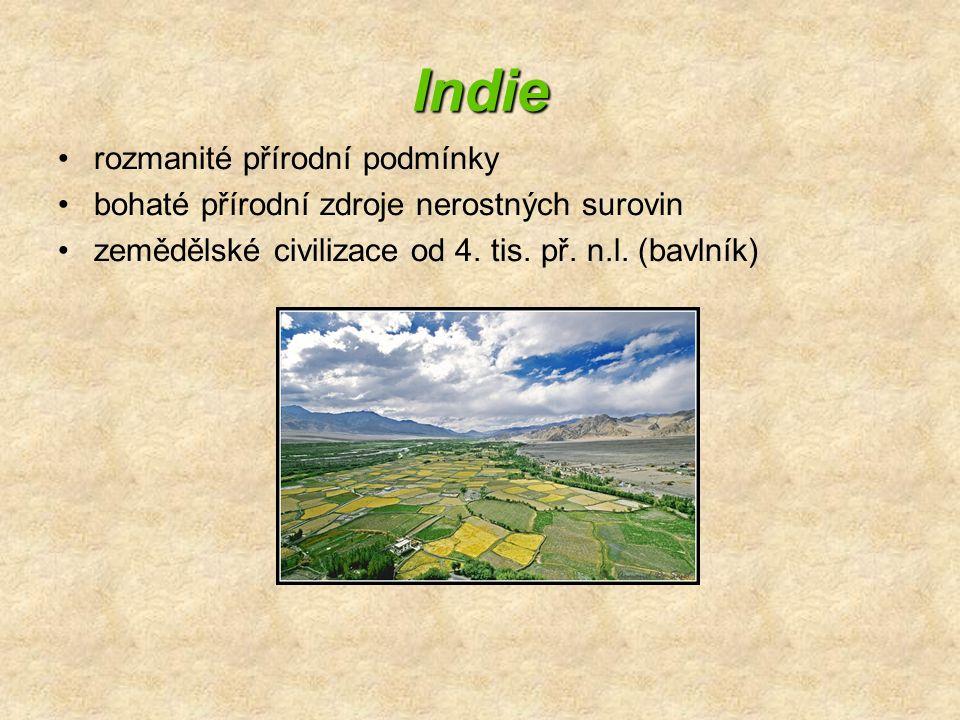 Indie rozmanité přírodní podmínky bohaté přírodní zdroje nerostných surovin zemědělské civilizace od 4. tis. př. n.l. (bavlník)