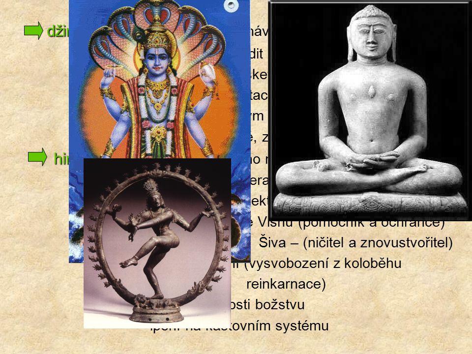 džinismus džinismus – Vardhamána Mahávíra (540 – 468 př. n. l.) Džina – vysvobodit lidskou duši z koloběhu znovuzrození (asketický život bez touhy po