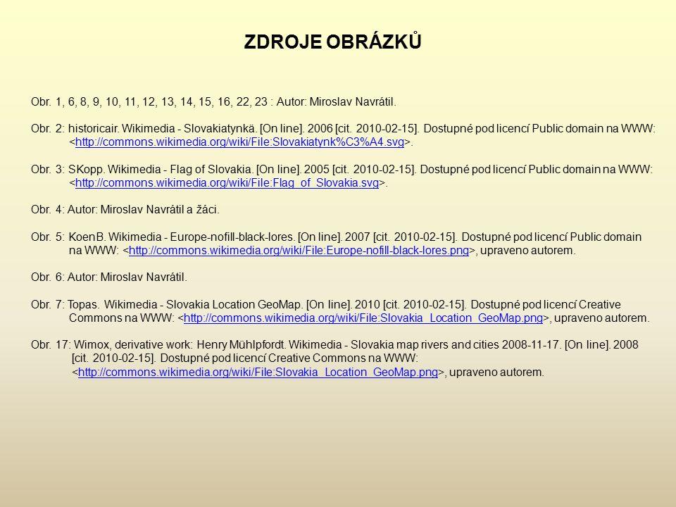 ZDROJE OBRÁZKŮ Obr.1, 6, 8, 9, 10, 11, 12, 13, 14, 15, 16, 22, 23 : Autor: Miroslav Navrátil.