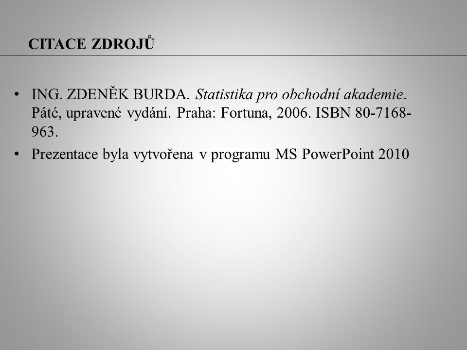 CITACE ZDROJŮ ING. ZDENĚK BURDA. Statistika pro obchodní akademie. Páté, upravené vydání. Praha: Fortuna, 2006. ISBN 80-7168- 963. Prezentace byla vyt