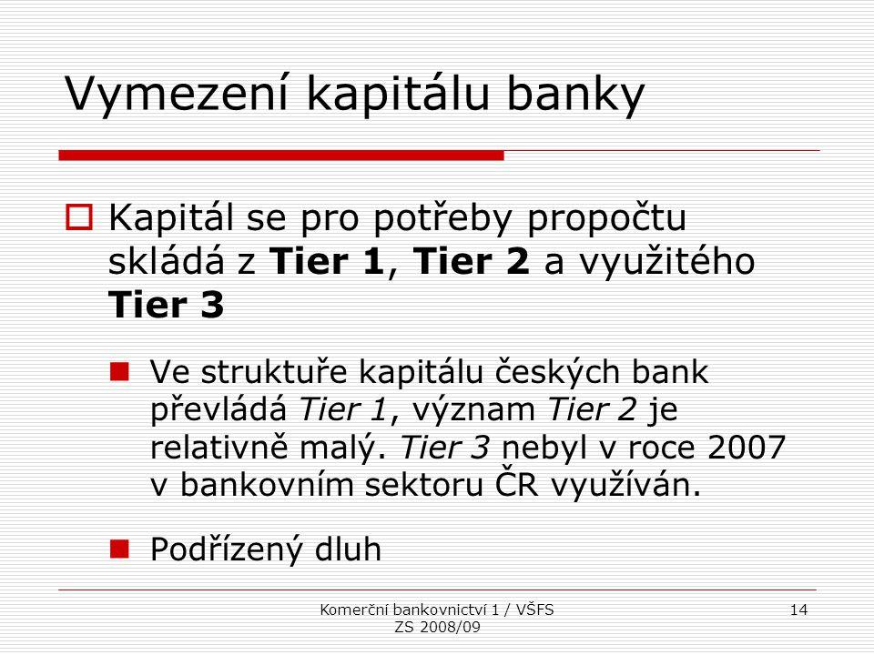 Komerční bankovnictví 1 / VŠFS ZS 2008/09 14 Vymezení kapitálu banky  Kapitál se pro potřeby propočtu skládá z Tier 1, Tier 2 a využitého Tier 3 Ve s