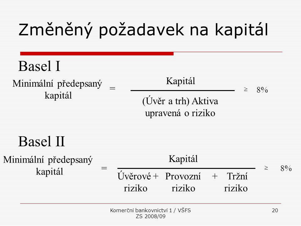 Komerční bankovnictví 1 / VŠFS ZS 2008/09 20 Změněný požadavek na kapitál Minimální předepsaný kapitál Kapitál (Úvěr a trh) Aktiva upravená o riziko =