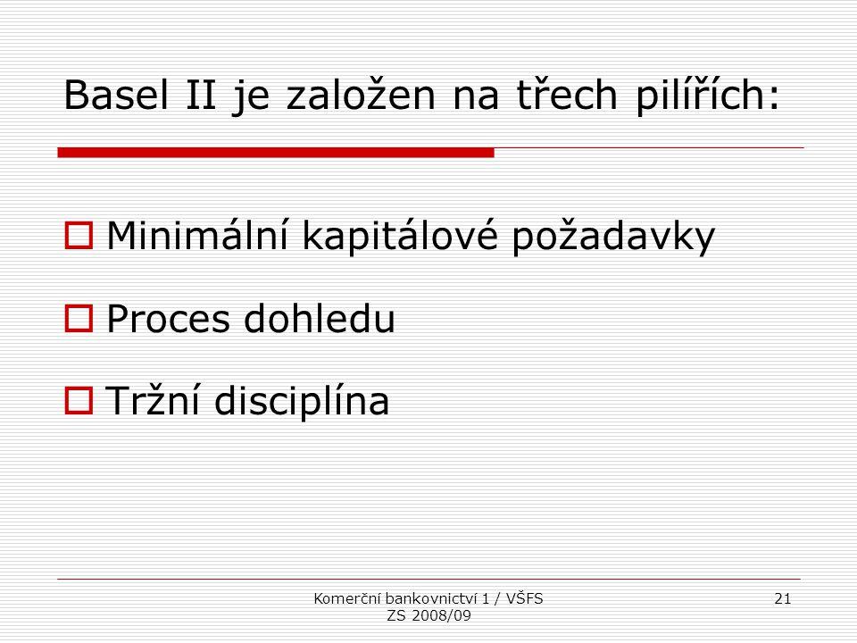 Komerční bankovnictví 1 / VŠFS ZS 2008/09 21 Basel II je založen na třech pilířích:  Minimální kapitálové požadavky  Proces dohledu  Tržní disciplí