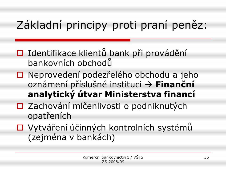 Komerční bankovnictví 1 / VŠFS ZS 2008/09 36 Základní principy proti praní peněz:  Identifikace klientů bank při provádění bankovních obchodů  Nepro