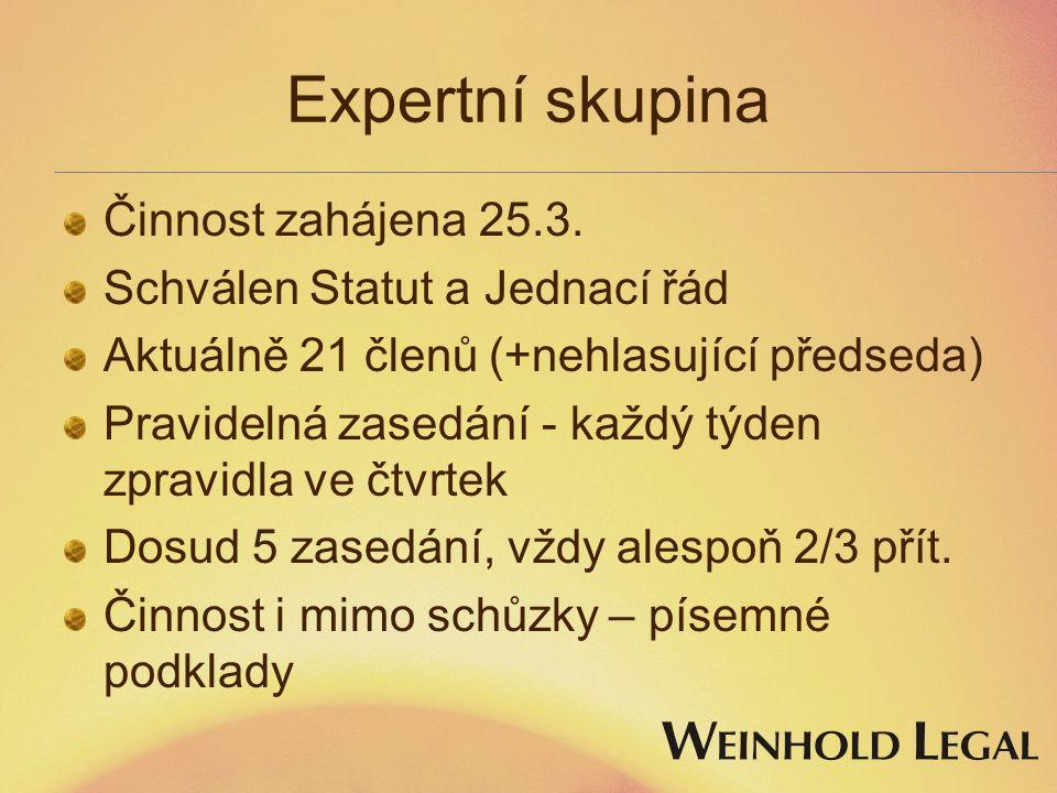 Expertní skupina Činnost zahájena 25.3. Schválen Statut a Jednací řád Aktuálně 21 členů (+nehlasující předseda) Pravidelná zasedání - každý týden zpra