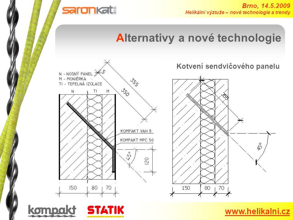 Brno, 14.5.2009 Helikální výztuže – nové technologie a trendy www.helikalni.cz Alternativy a nové technologie Kotvení sendvičového panelu