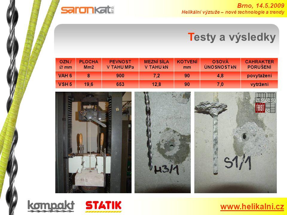 Brno, 14.5.2009 Helikální výztuže – nové technologie a trendy www.helikalni.cz Testy a výsledky OZN./  mm PLOCHA Mm2 PEVNOST V TAHU MPa MEZNÍ SÍLA V TAHU kN KOTVENÍ mm OSOVÁ ÚNOSNOST kN CAHRAKTER PORUŠENÍ VAH 689007,2904,8povytažení VSH 519,665312,8907,0vytržení