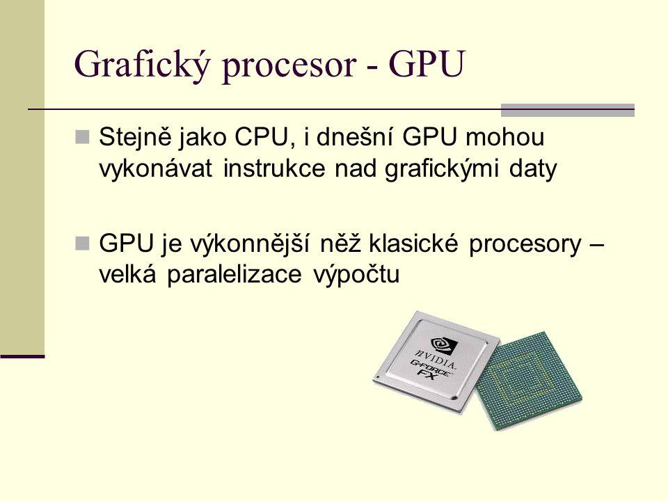 Grafický procesor - GPU Stejně jako CPU, i dnešní GPU mohou vykonávat instrukce nad grafickými daty GPU je výkonnější něž klasické procesory – velká paralelizace výpočtu