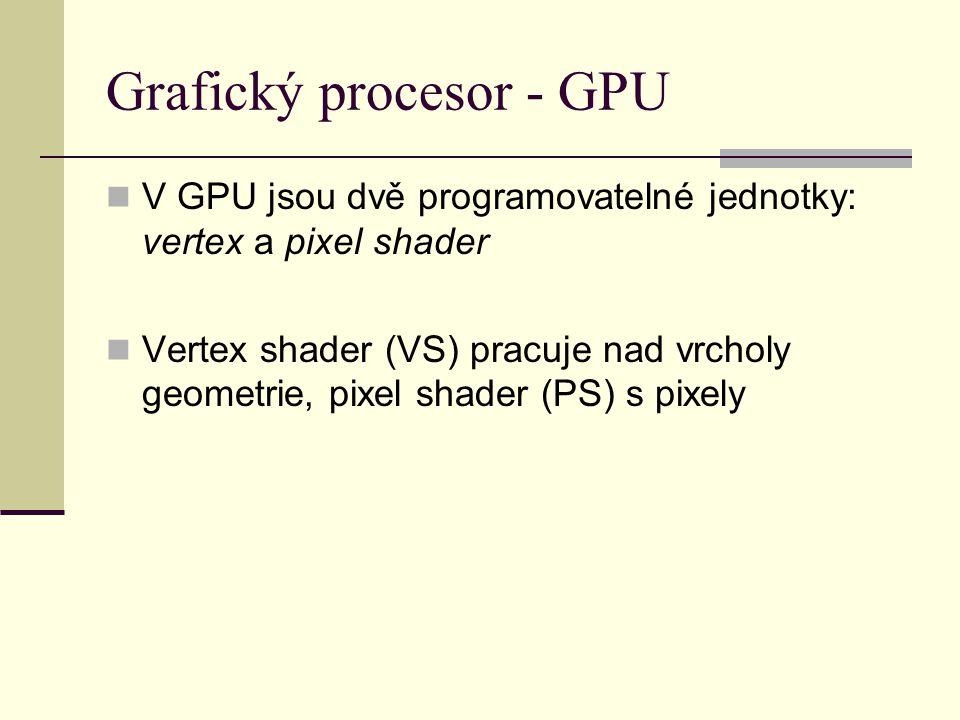 Grafický procesor - GPU V GPU jsou dvě programovatelné jednotky: vertex a pixel shader Vertex shader (VS) pracuje nad vrcholy geometrie, pixel shader (PS) s pixely