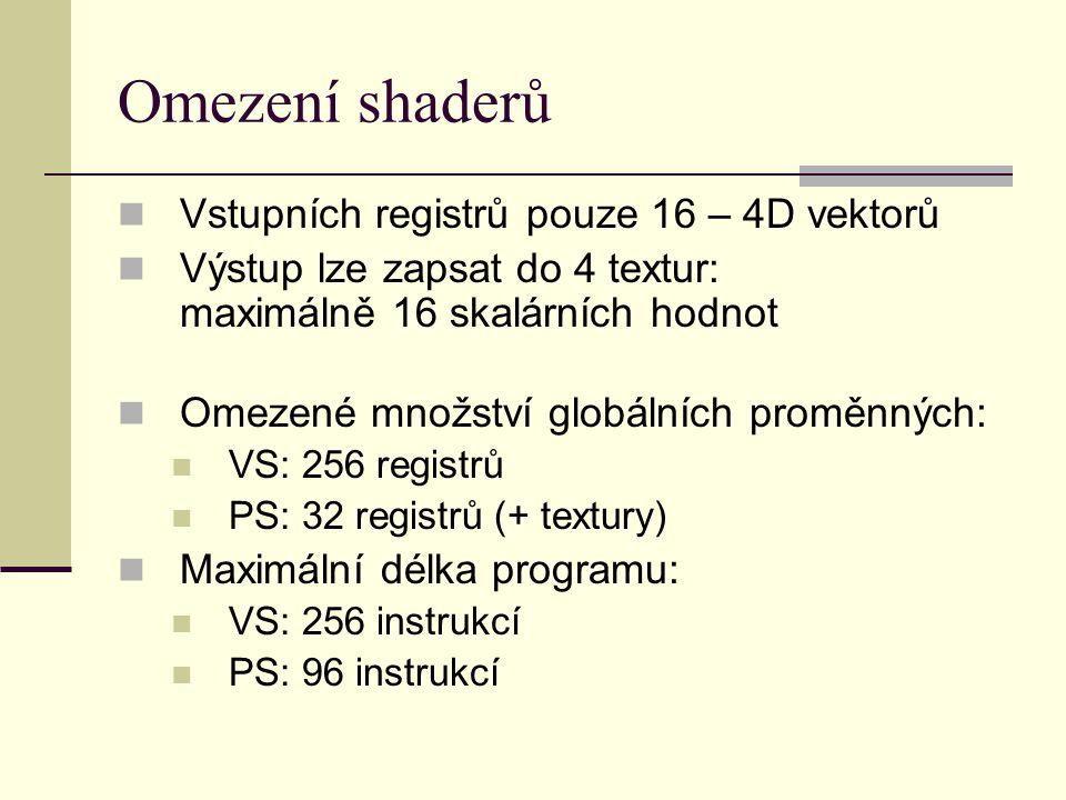 Omezení shaderů Vstupních registrů pouze 16 – 4D vektorů Výstup lze zapsat do 4 textur: maximálně 16 skalárních hodnot Omezené množství globálních proměnných: VS: 256 registrů PS: 32 registrů (+ textury) Maximální délka programu: VS: 256 instrukcí PS: 96 instrukcí