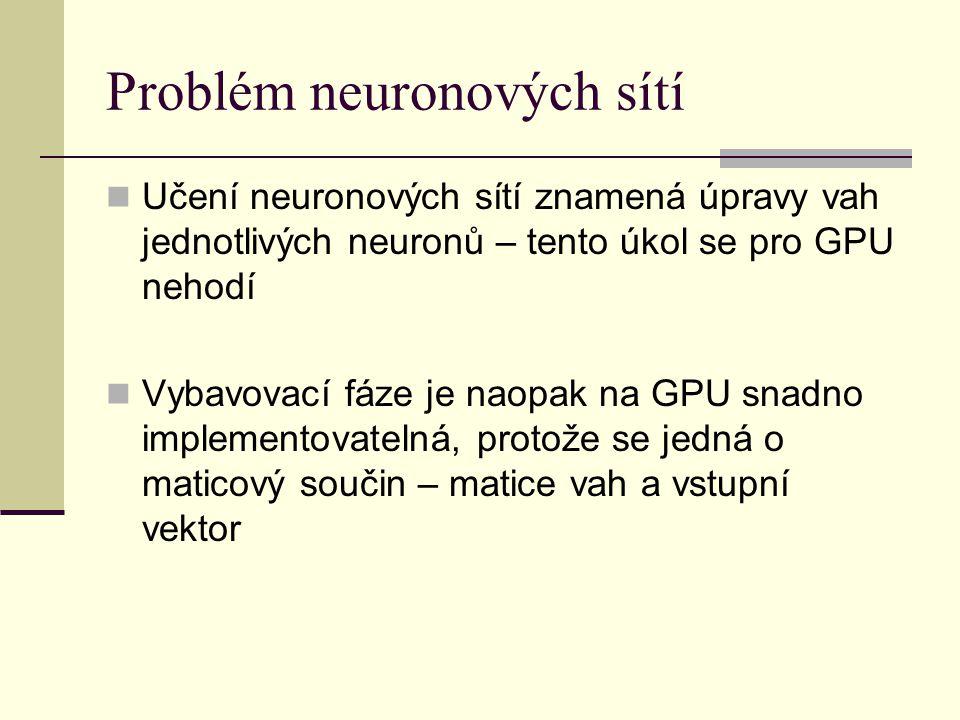 Problém neuronových sítí Učení neuronových sítí znamená úpravy vah jednotlivých neuronů – tento úkol se pro GPU nehodí Vybavovací fáze je naopak na GPU snadno implementovatelná, protože se jedná o maticový součin – matice vah a vstupní vektor