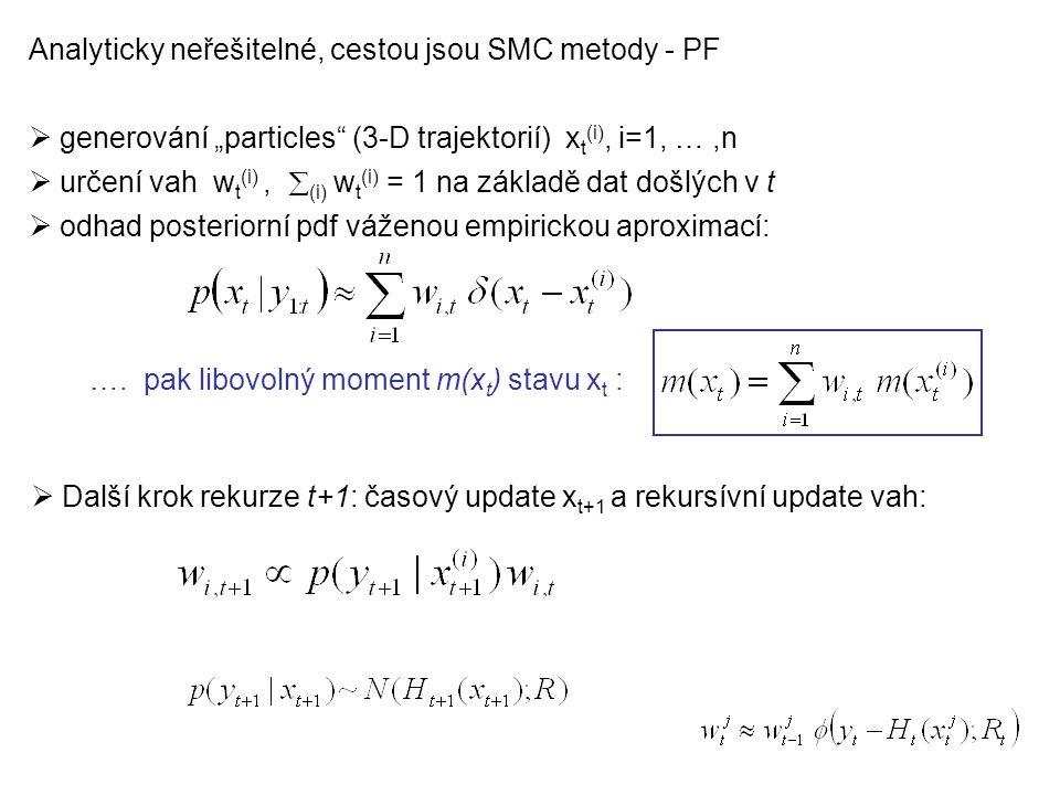 """Analyticky neřešitelné, cestou jsou SMC metody - PF  generování """"particles (3-D trajektorií) x t (i), i=1, …,n  určení vah w t (i),  (i) w t (i) = 1 na základě dat došlých v t  odhad posteriorní pdf váženou empirickou aproximací:  Další krok rekurze t+1: časový update x t+1 a rekursívní update vah: …."""