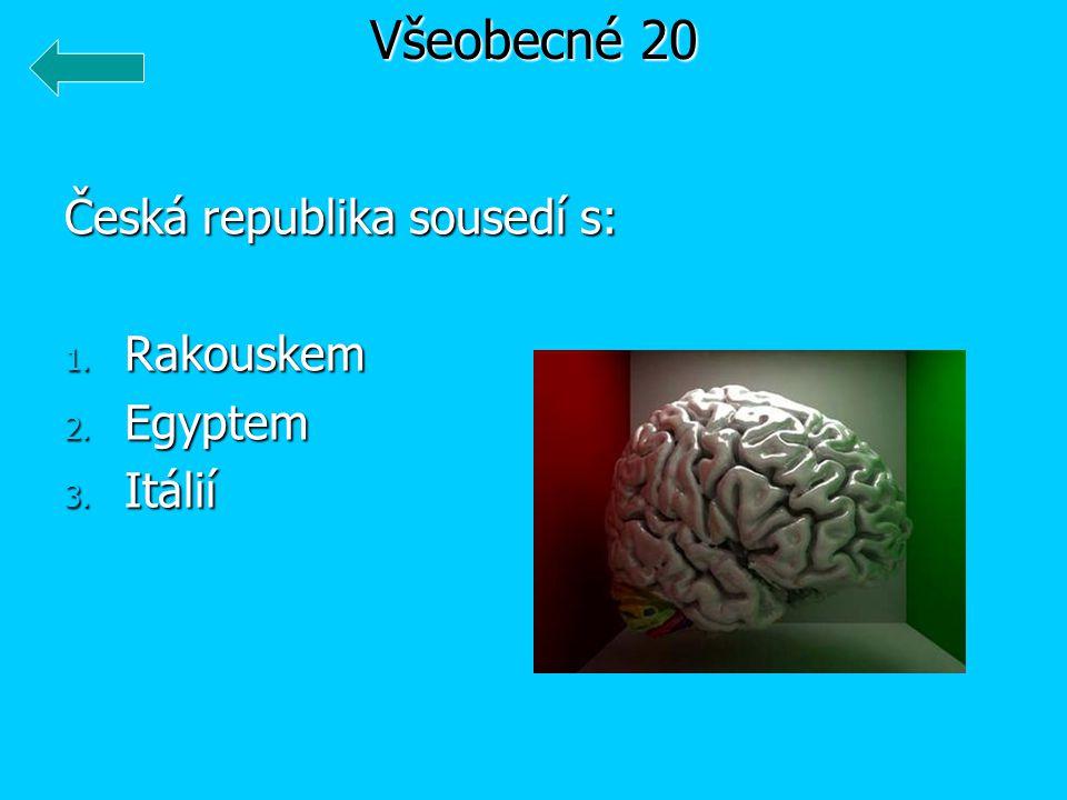 Česká republika sousedí s: 1. Rakouskem 2. Egyptem 3. Itálií Všeobecné 20