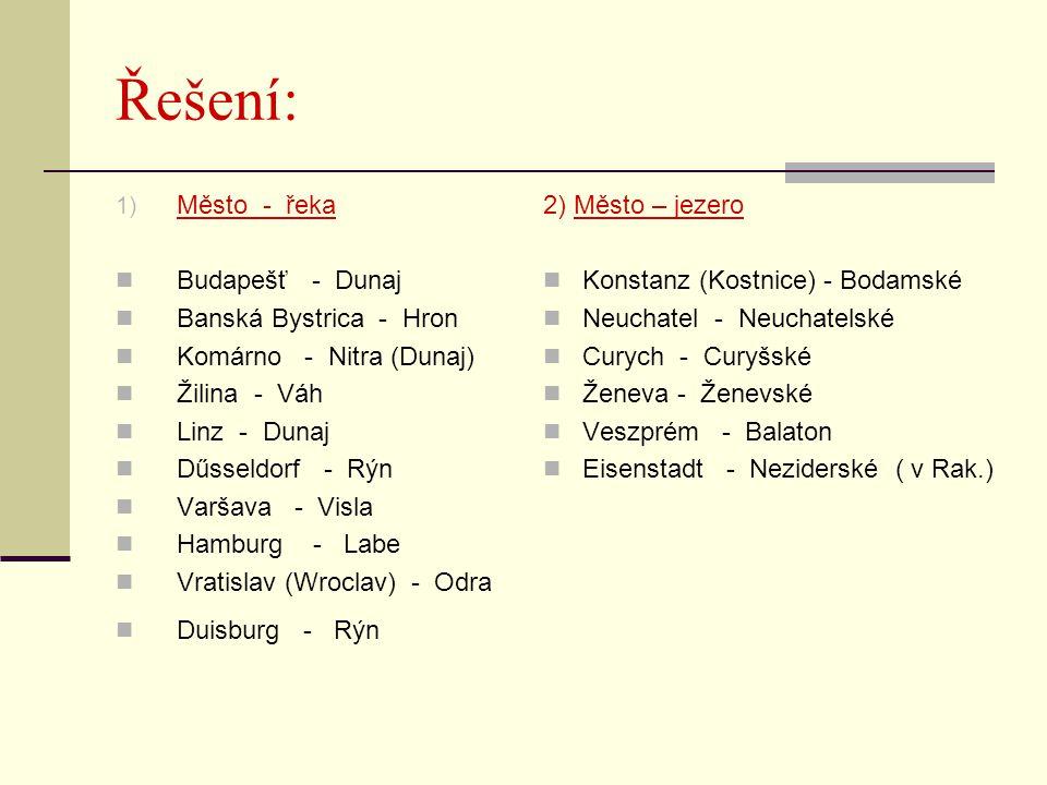 Řešení: 1) Město - řeka Budapešť - Dunaj Banská Bystrica - Hron Komárno - Nitra (Dunaj) Žilina - Váh Linz - Dunaj Dűsseldorf - Rýn Varšava - Visla Ham