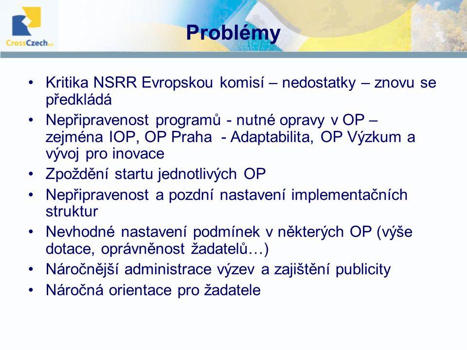 Problémy Kritika NSRR Evropskou komisí – nedostatky – znovu se předkládá Nepřipravenost programů - nutné opravy v OP – zejména IOP, OP Praha - Adaptabilita, OP Výzkum a vývoj pro inovace Zpoždění startu jednotlivých OP Nepřipravenost a pozdní nastavení implementačních struktur Nevhodné nastavení podmínek v některých OP (výše dotace, oprávněnost žadatelů…) Náročnější administrace výzev a zajištění publicity Náročná orientace pro žadatele