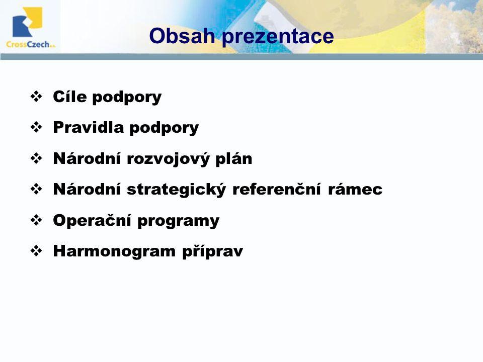 Obsah prezentace  Cíle podpory  Pravidla podpory  Národní rozvojový plán  Národní strategický referenční rámec  Operační programy  Harmonogram příprav