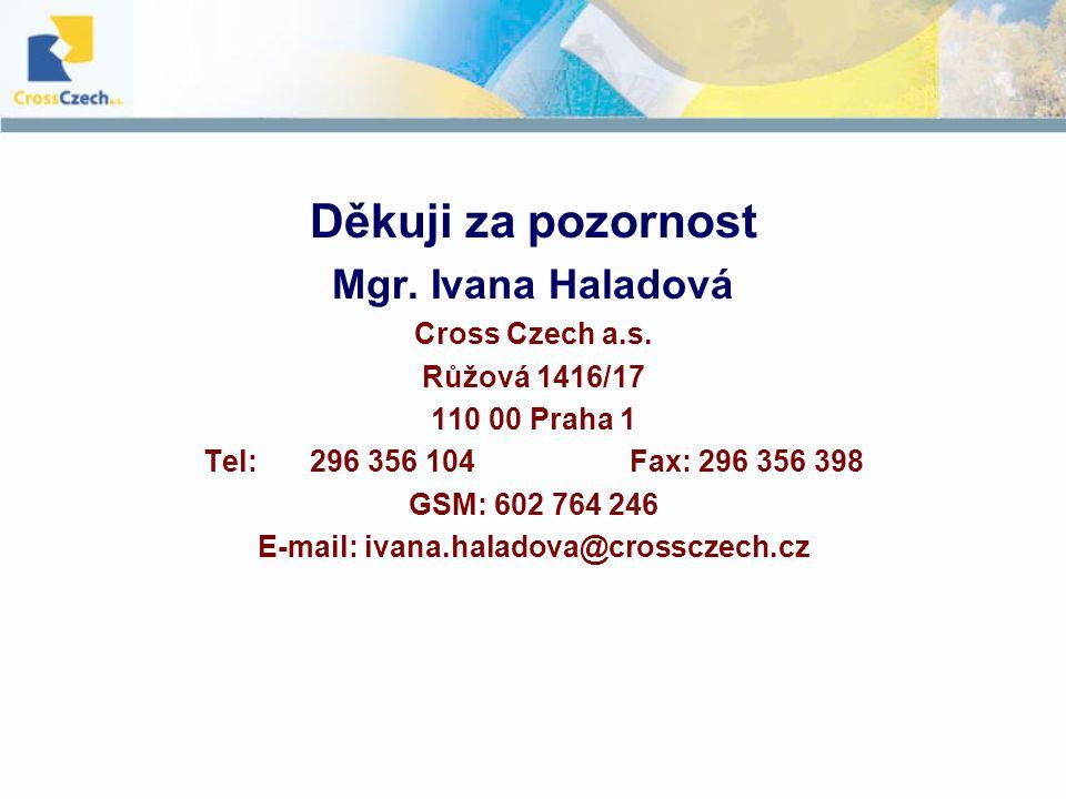 Děkuji za pozornost Mgr. Ivana Haladová Cross Czech a.s.
