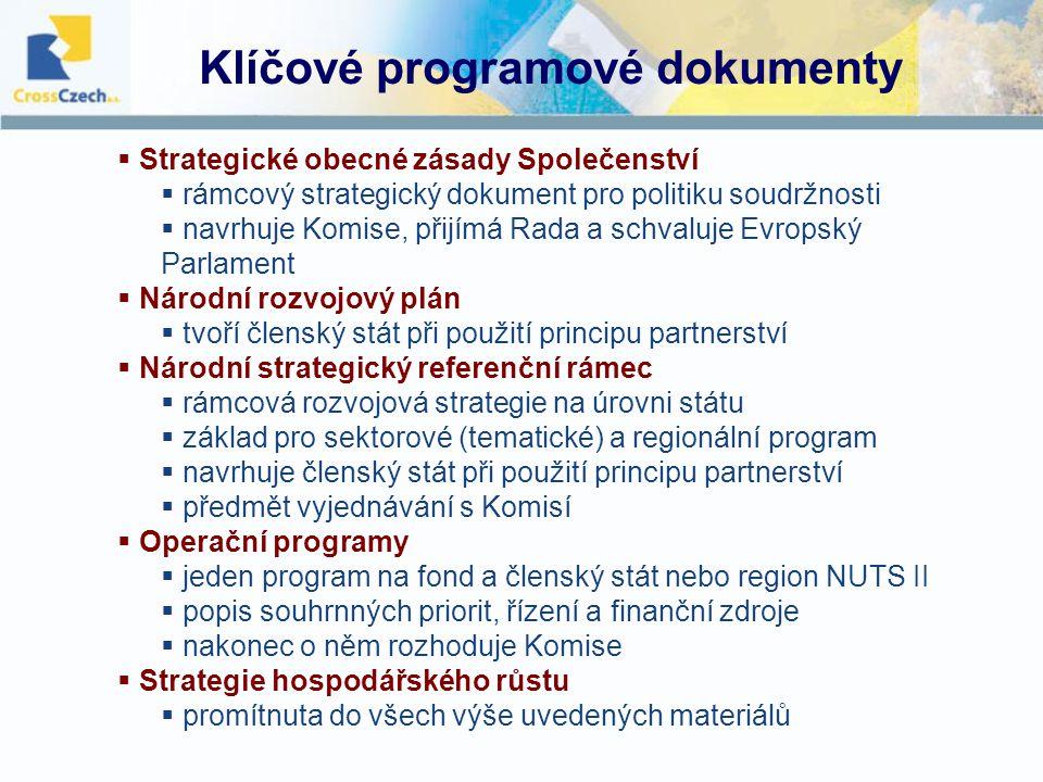 NRP 2007 - 2013  výchozí dokument pro zpracování Národního strategického referenčního rámce (NSRR)  podpůrný dokument pro vyjednávání ČR s Evropskou komisí o způsobu implementace politiky HSS v ČR  překlene mezeru mezi Strategií hospodářského růstu a Národním strategickým referenčním rámcem  formuluje hierarchii priorit a rozpracovává cíle politiky hospodářské a sociální soudržnosti