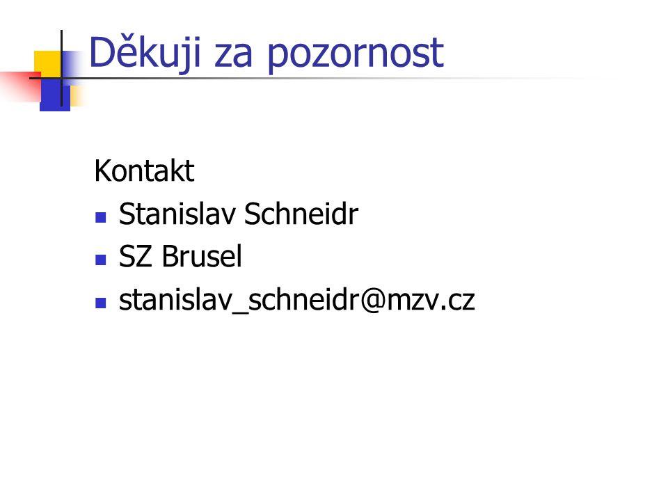 Děkuji za pozornost Kontakt Stanislav Schneidr SZ Brusel stanislav_schneidr@mzv.cz