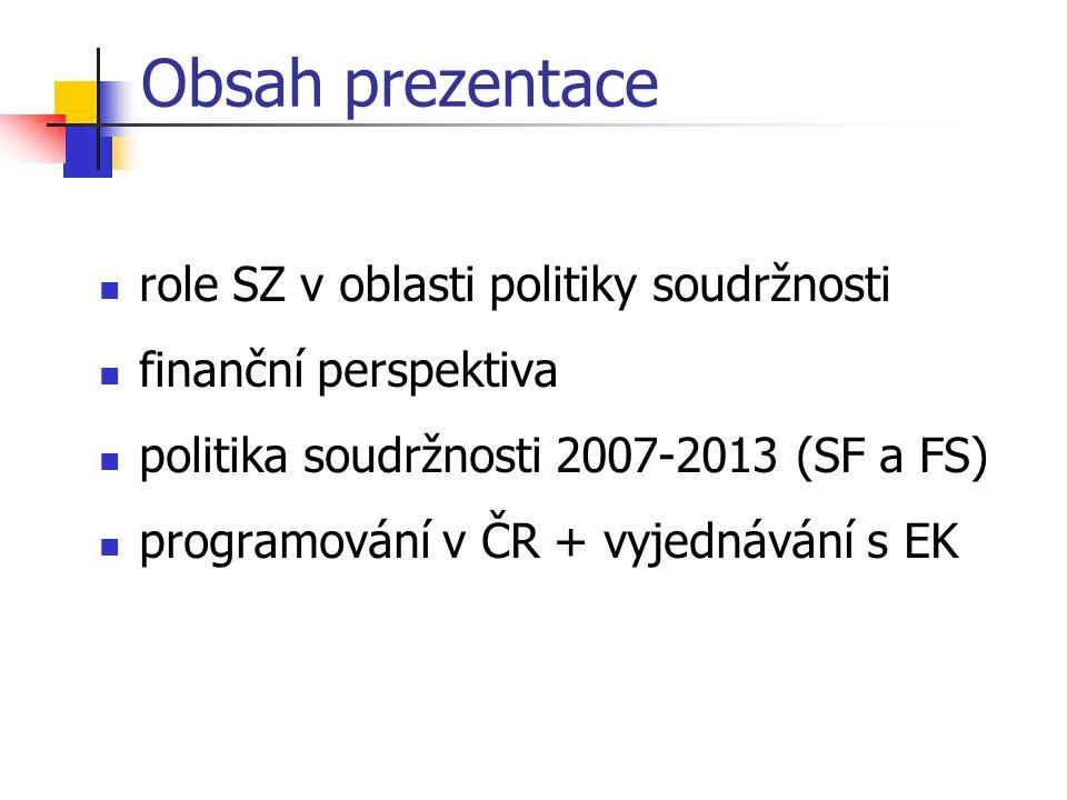 Obsah prezentace role SZ v oblasti politiky soudržnosti finanční perspektiva politika soudržnosti 2007-2013 (SF a FS) programování v ČR + vyjednávání