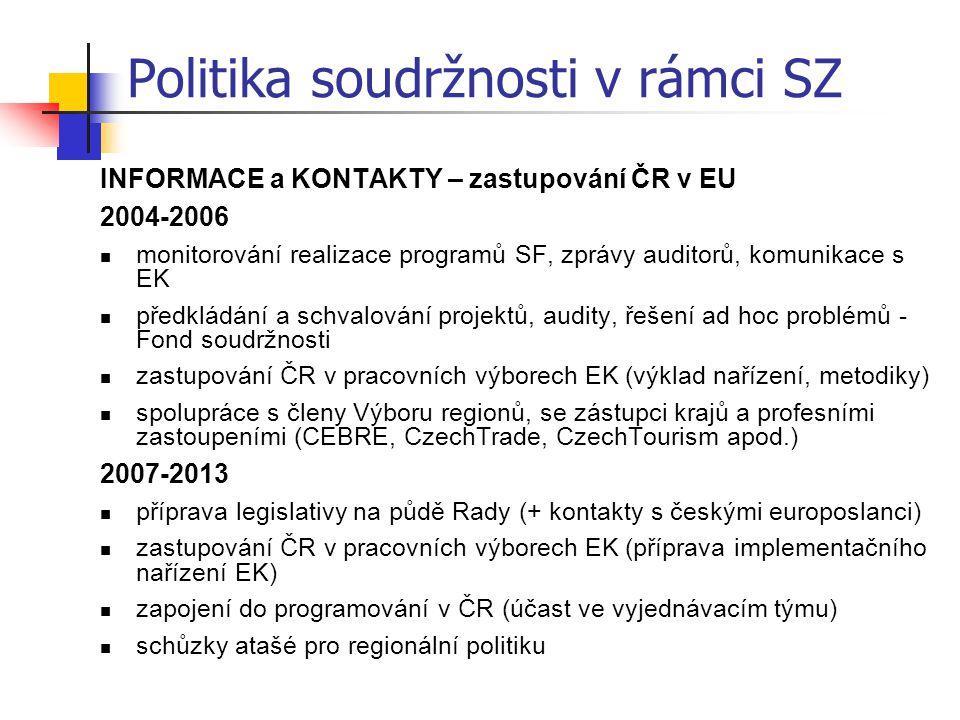 INFORMACE a KONTAKTY – zastupování ČR v EU 2004-2006 monitorování realizace programů SF, zprávy auditorů, komunikace s EK předkládání a schvalování pr