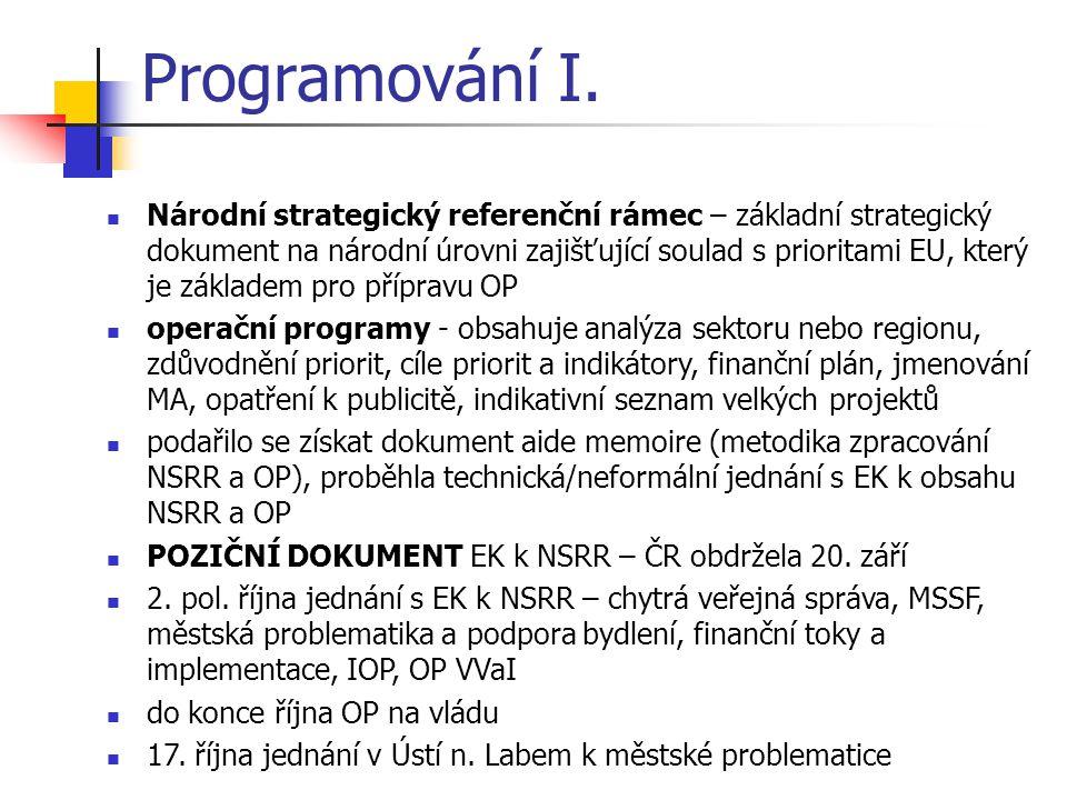 Programování I. Národní strategický referenční rámec – základní strategický dokument na národní úrovni zajišťující soulad s prioritami EU, který je zá