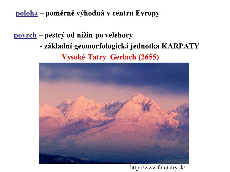 poloha – poměrně výhodná v centru Evropy povrch – pestrý od nížin po velehory - základní geomorfologická jednotka KARPATY Vysoké Tatry Gerlach (2655)